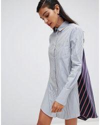 Sportmax Code - Shirt Dress With Stripe Reverse - Lyst