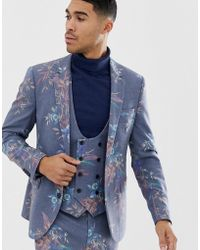 ASOS - Skinny Suit Jacket In Printed Blue Floral Wool Mix - Lyst