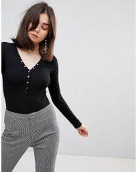Stradivarius - Ribbed Button Front Body - Lyst
