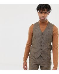 Heart & Dagger - Slim Suit Vest In Camel Wool - Lyst