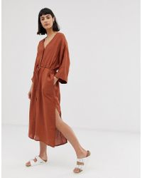 Weekday - Smock Button Front Dress In Rust - Lyst