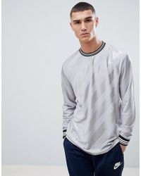 ASOS - Relaxed Longline Long Sleeve T-shirt With Diagonal Shadow Stripe With Tipping In Grey - Lyst