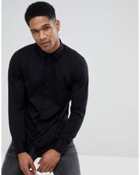 Stradivarius | Slim Fit Jersey Shirt In Back | Lyst
