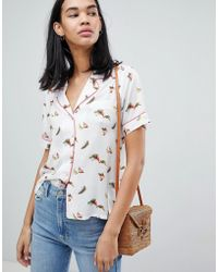 Pepe Jeans - Suna Bird Print Rever Collar Shirt - Lyst