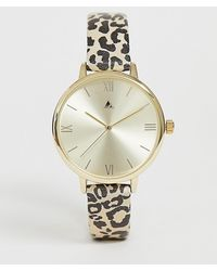ASOS - Watch With Cheetah Print Strap And Gold Tone Case - Lyst