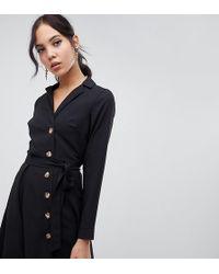 d41d78ddfe3 ASOS Asos Design Tall Mini T-shirt Dress With Zip Neck in Black - Lyst