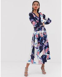 5799a86eaf Little Mistress - All Over Floral Printed Maxi Skirt Co-ord In Multi - Lyst