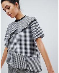Sportmax Code - Gingham Woven T-shirt - Lyst