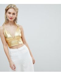 Flounce London - High Shine Metallic Bralet - Lyst