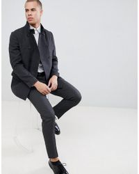 New Look - Wool Military Coat In Dark Grey - Lyst