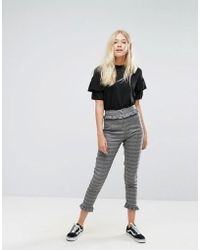 Bershka - Dog Tooth Check Tailored Trouser - Lyst