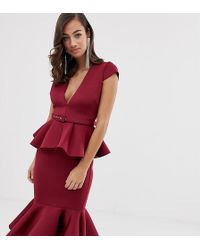 ccf2468dae ASOS Corset Midi Dress With Popper Detail And Pep Hem in Black - Lyst