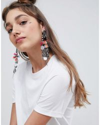 ASOS - Statement Woven Wrap Tassel And Coin Earrings - Lyst
