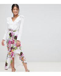 True Violet - Hi-low Frill Skirt In Print - Lyst