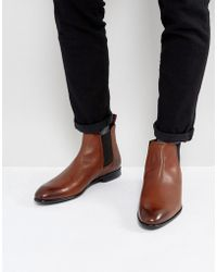 HUGO - Dressapp Burnished Calf Leather Chelsea Boots In Tan - Lyst