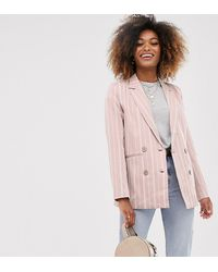 Vila Stripe Double Breasted Blazer - Pink