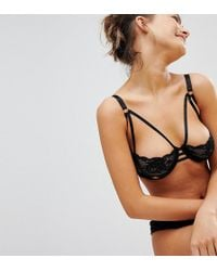 Wolf & Whistle - Black Lace Cut Out B-g Cup Bra - Lyst