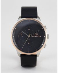 Tommy Hilfiger - 1791488 Chronograph Leather Watch In Black 44mm - Lyst
