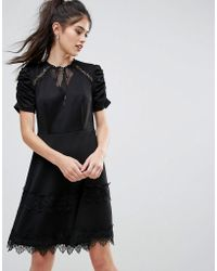 Club L - Detailed Crochet & Lace Skater Dress With Puff Detailed Sleeves - Lyst