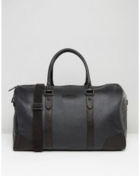 Barneys Originals - Barneys Structured Leather Holdall In Black - Lyst