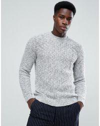 Mango - Man Chunky Knit Jumper In Grey - Lyst