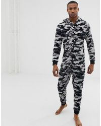 River Island Onesie With Camo Print In Grey