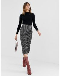 Warehouse - Midi Skirt With Button Detail In Black Stripe - Lyst