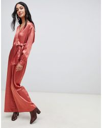 Lost Ink - Wrap Front Plunge Jumpsuit In Satin - Lyst