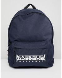 Napapijri - Hala Logo Backpack With Taping In Navy Tribe Pack - Lyst