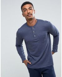 Mango - Man Long Sleeve Top With Buttons In Navy - Lyst