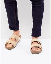 Eastland - Caleb Double Strap Suede Sandals In Beige - Lyst