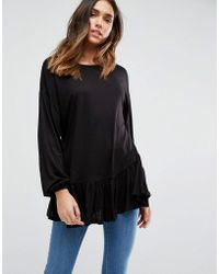 ASOS | Top With Balloon Sleeve And Ruffle Hem | Lyst