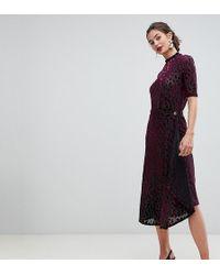 Y.A.S - Sille Midi Wrap Skirt In Flocked Velvet - Lyst