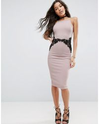 ASOS - Textured Pencil Dress With Lace Waist - Lyst