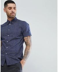 PS by Paul Smith - Tailored Fit Short Sleeve Micro Pattern Shirt In Navy - Lyst