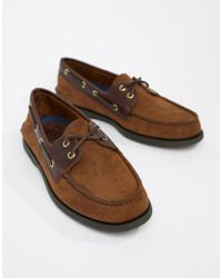 Sperry Top-Sider - Topsider Leather Boat Shoes In Brown - Lyst