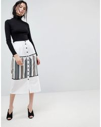 ASOS - Midaxi Skirt With Button Front And Stripe Detail - Lyst