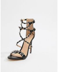 Public Desire - Amore Black Studded Heeled Sandal - Lyst