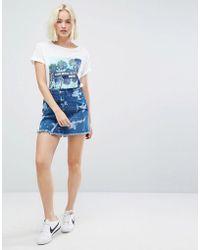 Wrangler - Wild Wash Denim Mini Skirt - Lyst