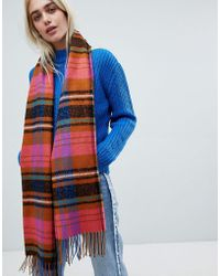 Pieces - Bright Check Scarf - Lyst