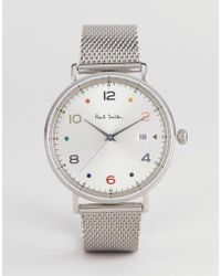 Paul Smith - Ps0060001 Gauge Colour Mesh Watch In Silver 41mm - Lyst