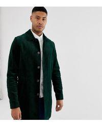 ASOS - Trench-coat coupe droite en velours côtelé - Vert bouteille - Lyst