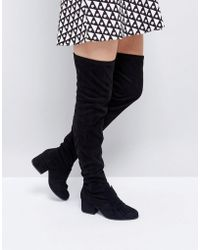 London Rebel - Oversized Bow Over Knee Boot - Lyst