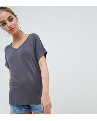 ASOS - Asos Design Petite T-shirt With Drapey Batwing Sleeve In Grey - Lyst