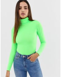 PrettyLittleThing - Roll Neck Long Sleeve Body In Neon Green - Lyst