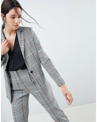 ASOS - Design Longline Slim Blazer In Coloured Check - Lyst