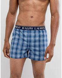 Polo Ralph Lauren - Slim Fit Check Woven Boxer With Logo Waistband In Navy - Lyst