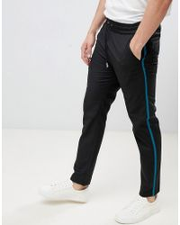 Lindbergh - Relaxed Trouser In Black With Contrast Stripe - Lyst