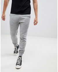Hollister - Core Icon Logo Cuffed jogger In Gray Marl - Lyst