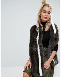 Urbancode   Khaki Faux Fur Drawstring Scarf   Lyst